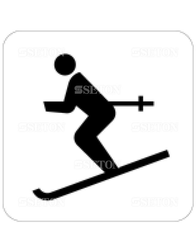フロア・サインマークシール JIS スキー場 言語なし 140×140