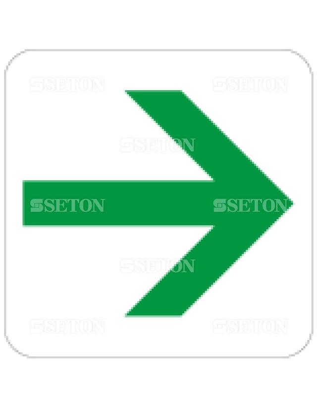 フロア・サインマークシール JIS 矢印90緑 言語なし 140×140