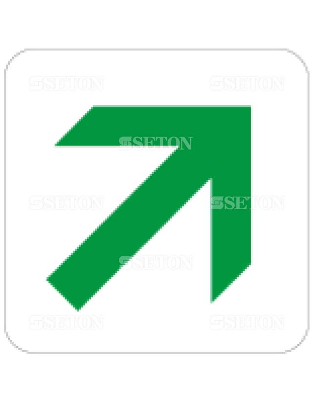 フロア・サインマークシール JIS 矢印45緑 言語なし 140×140