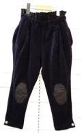 【frankygrowフランキーグロウ】BT-204/BOXPLEATS WOODY CORDUROY PANTS -BEAR MT KNEE PATCH/NAVY/WOMEN