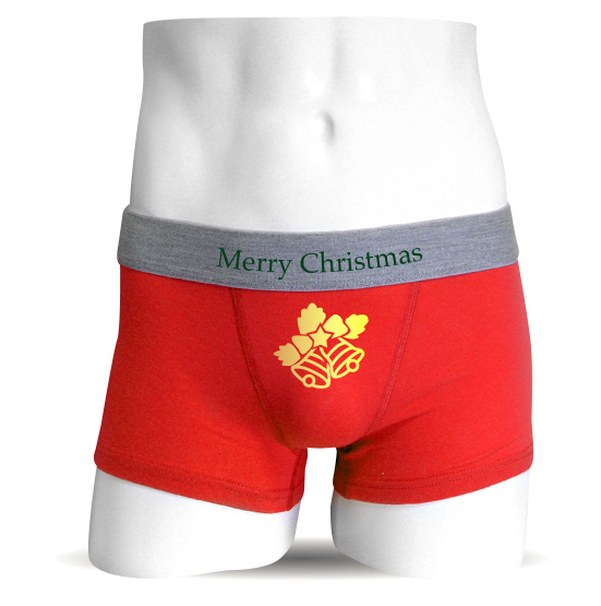 クリスマス プレゼント に オススメ ボクサーパンツ 【赤】【コットン】クリスマスベルおもしろジョークプレゼント下着★G22★