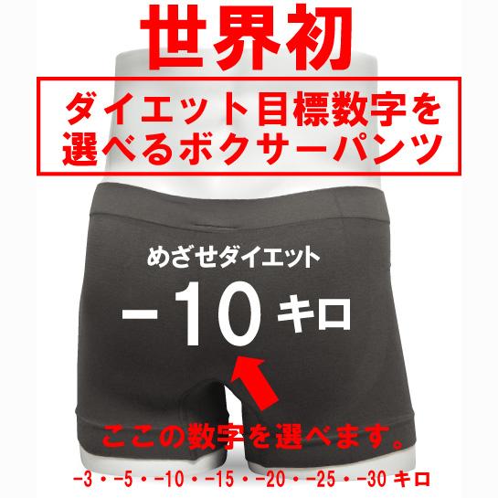 世界初 おもしろ ダイエット 目標 ボクサーパンツ【グレー】【ナイロン】目標ダイエット数字を選べる 面白い  プレゼント 男性★F4★