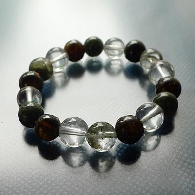 ヒマラヤ水晶ブレスレット内包物入り012 三色の奇跡