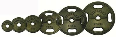 【オリンピックプレート】【ラバープレート】STEELFLEX 10kgラバーバーベルプレート 50mm孔径(2枚1組)