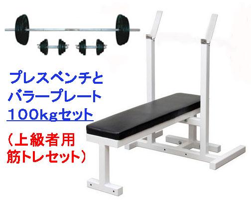 【自宅 トレーニング】【ベンチプレス セット】ShapeShop 国産製ベンチプレス+100kgセット(ラバープレート)(上級者用筋トレセット)