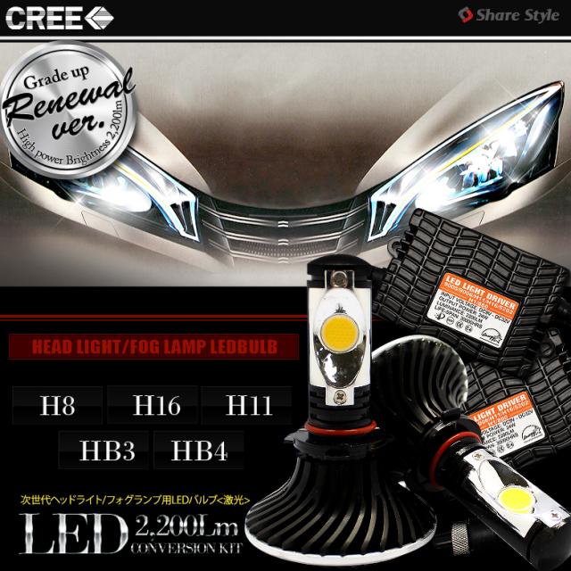 <CREE製LED搭載>次世代の光 激光!!2200LM H8/H11/H16/HB3/HB4 ヘッドライト/フォグランプ用LEDバルブ アルミヒートシンク 25W 5000K デジタルコントローラー付き
