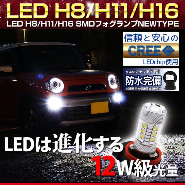 【フォグ・コーナーリングランプなどに】H8orH11orH16orHB4用12W級の明るさCree社製80WLEDバルブ