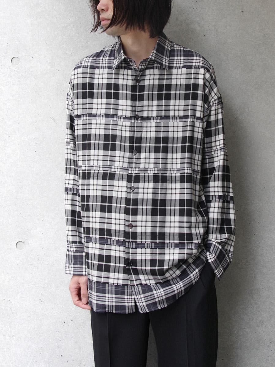 "【20AW】 ALMOSTBLACK (オールモストブラック) ""DOUBLE CLOTH WIDE SHIRT"" <シャツ> - CHECK"