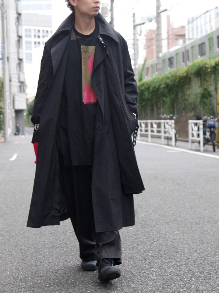 """【SALE:20AW】 ALMOSTBLACK (オールモストブラック) """"LAYERED TRENCH COAT"""" <トレンチコート>"""