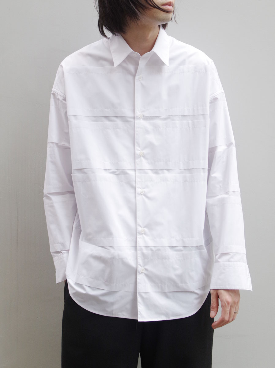 "【20AW】 ALMOSTBLACK (オールモストブラック) ""DOUBLE CLOTH WIDE SHIRT"" <シャツ> - WHITE"