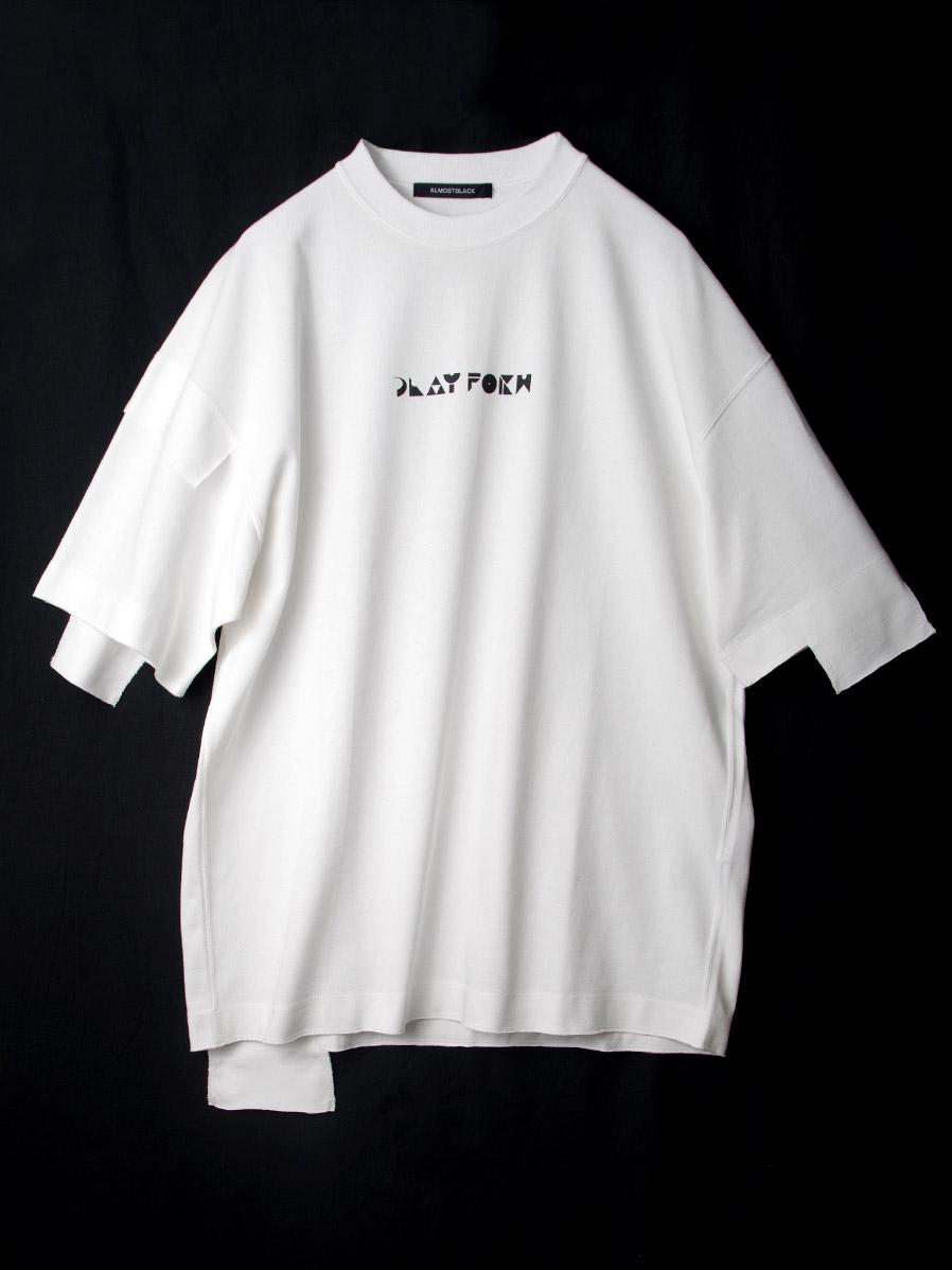 "【20SS】 ALMOSTBLACK (オールモストブラック) """"PLAY FORM"" CUTSEW"" <カットソー> - WHITE"