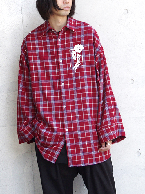 "【18AW】 ALMOSTBLACK (オールモストブラック) ""WIDE SLEEVE WOOL SHIRT"" <シャツ>  - RED CHECK"