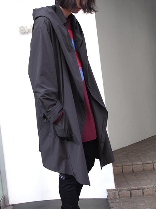 "【18AW】 ALMOSTBLACK (オールモストブラック) ""HOODED SHIRT COAT"" <シャツコート> - BLACK"
