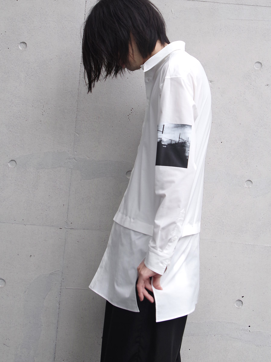 "【20AW】 ALMOSTBLACK (オールモストブラック) ""DETACHABLE LONG SHIRT"" <ロングシャツ> - WHITE"