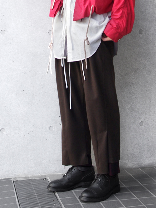 "【18AW】 BED J.W. FORD (ベッドフォード) ""Wide pants"" <パンツ>  - CHOCOLATE"