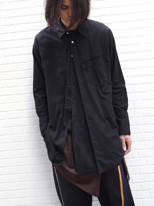 "【18AW】 BED J.W. FORD (ベッドフォード) ""Cape shirt"" 18AW-B-BL02 <シャツ>  - BLACK"