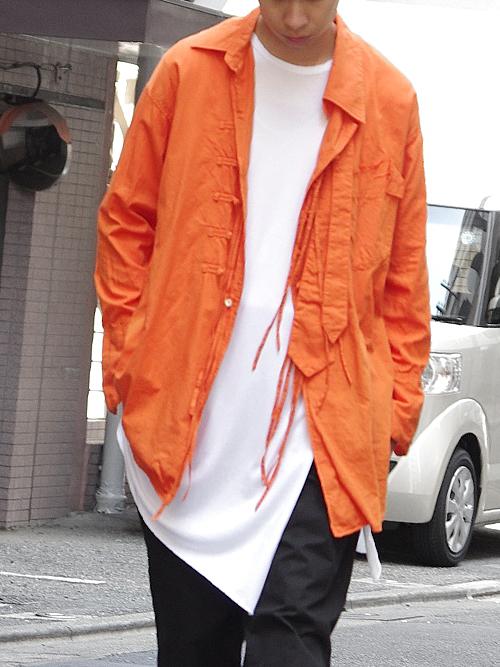 "【18AW】 BED J.W. FORD (ベッドフォード) ""China shirt"" 18AW-B-BL03 <シャツ>  - ORANGE"
