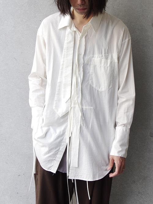 "【18AW】 BED J.W. FORD (ベッドフォード) ""Ribbon shirt"" 18AW-B-BL01 <シャツ>  - WHITE"