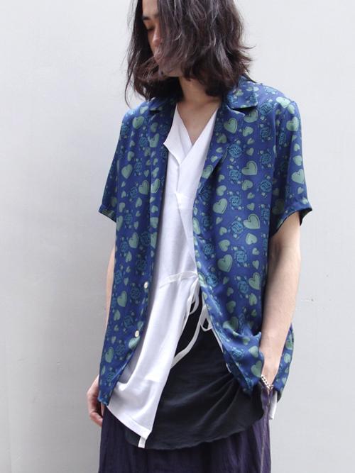 """【18SS】 BED J.W. FORD (ベッドフォード) """"Queen summer shirt."""" 18SS-B-BL07 <シャツ> - DARK (BLUE系)"""