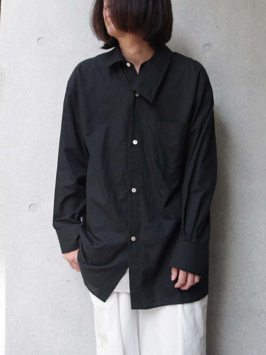 "【SALE:2020SS】 BED J.W. FORD (ベッドフォード) ""Cotton Silk Dog Ear Shirt"" <シャツ> - BLACK"