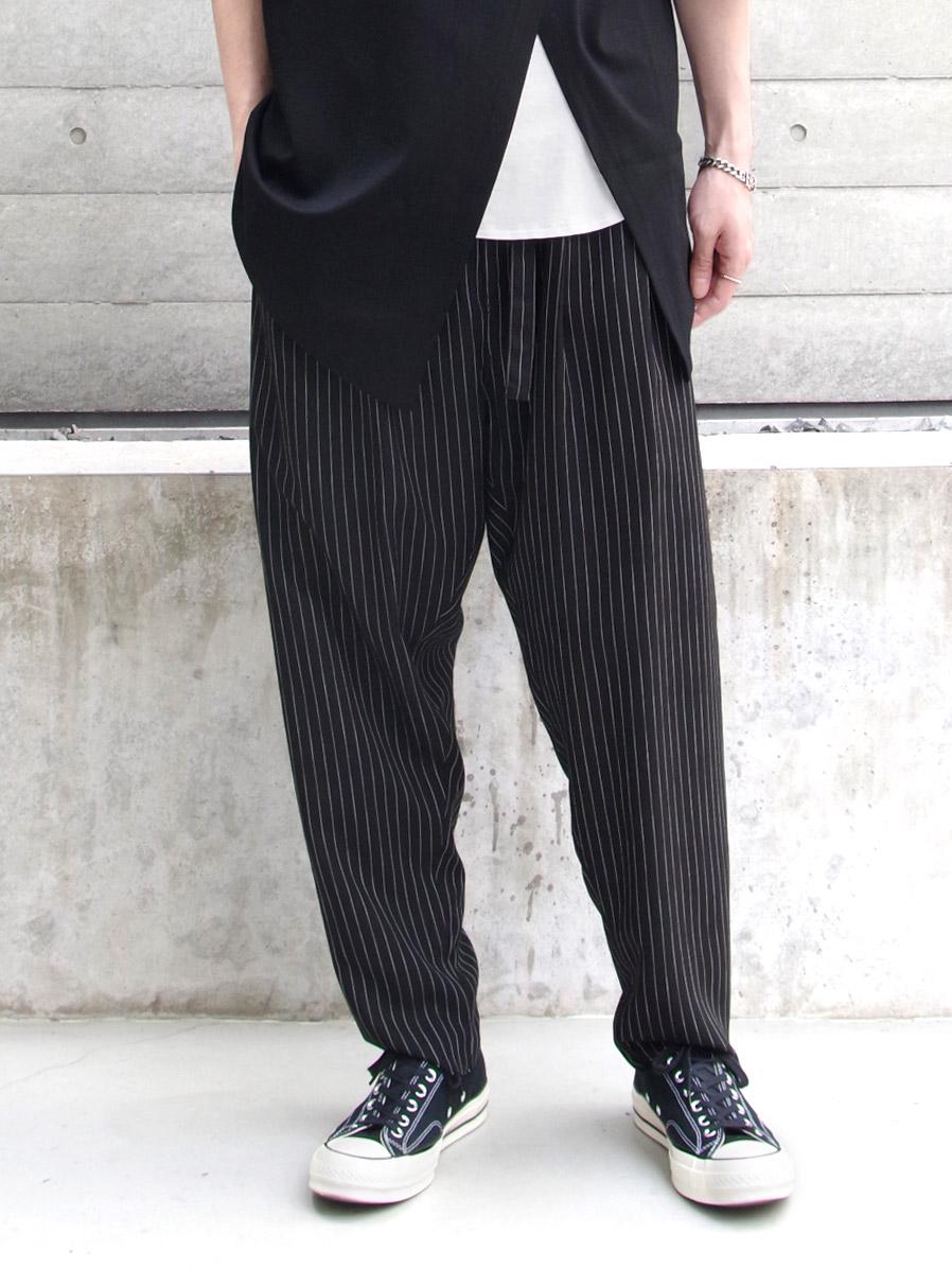 "BED J.W. FORD (ベッドフォード) ""Two Tucks Stripe Pants"" <パンツ> - BLACK"