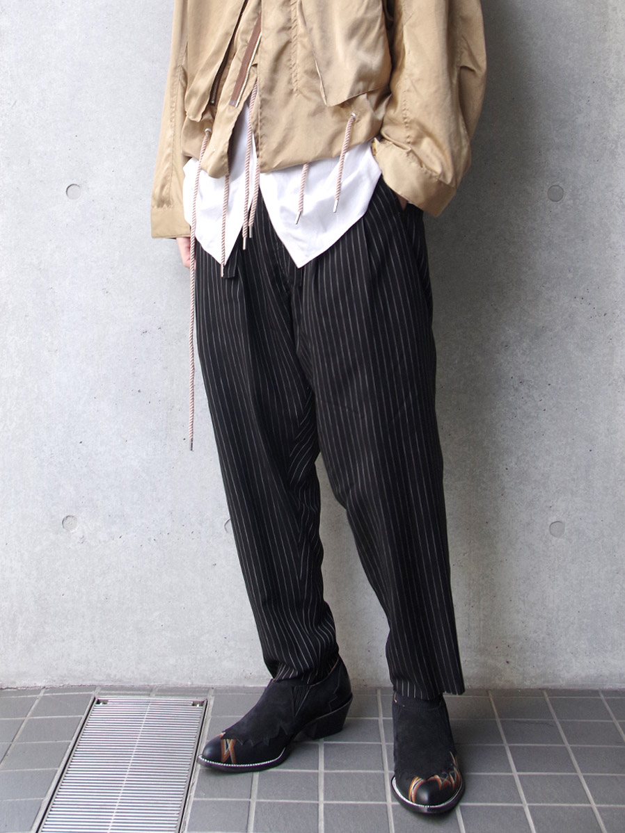 "【2020SS】 BED J.W. FORD (ベッドフォード) ""Two Tucks Stripe Pants"" <パンツ> - BLACK"