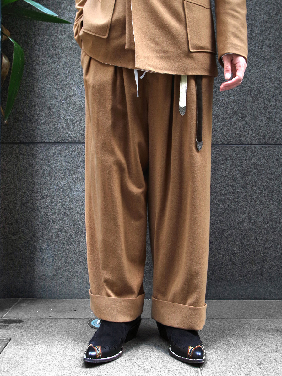 "【19AW】 BED J.W. FORD (ベッドフォード) ""Flannel wide pants"" <ワイドパンツ> - CAMEL"