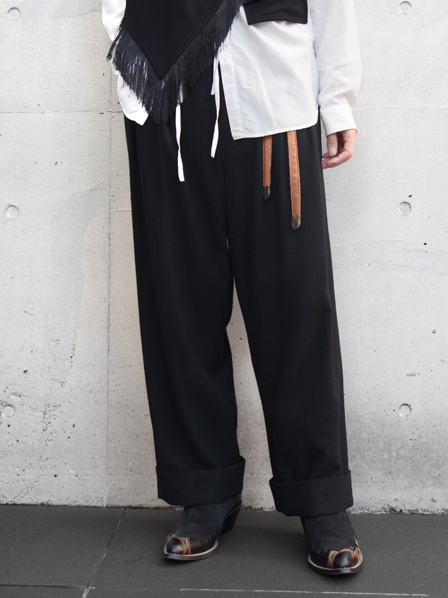 "【19AW】 BED J.W. FORD (ベッドフォード) ""Flannel wide pants"" <ワイドパンツ> - BLACK"