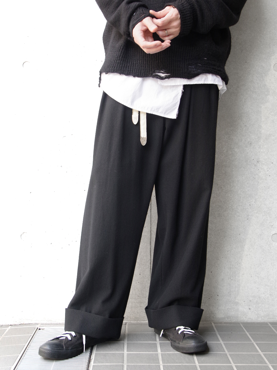 "【19AW】 BED J.W. FORD (ベッドフォード) ""Flannel wide pants"" <ワイドパンツ> - BLACK"