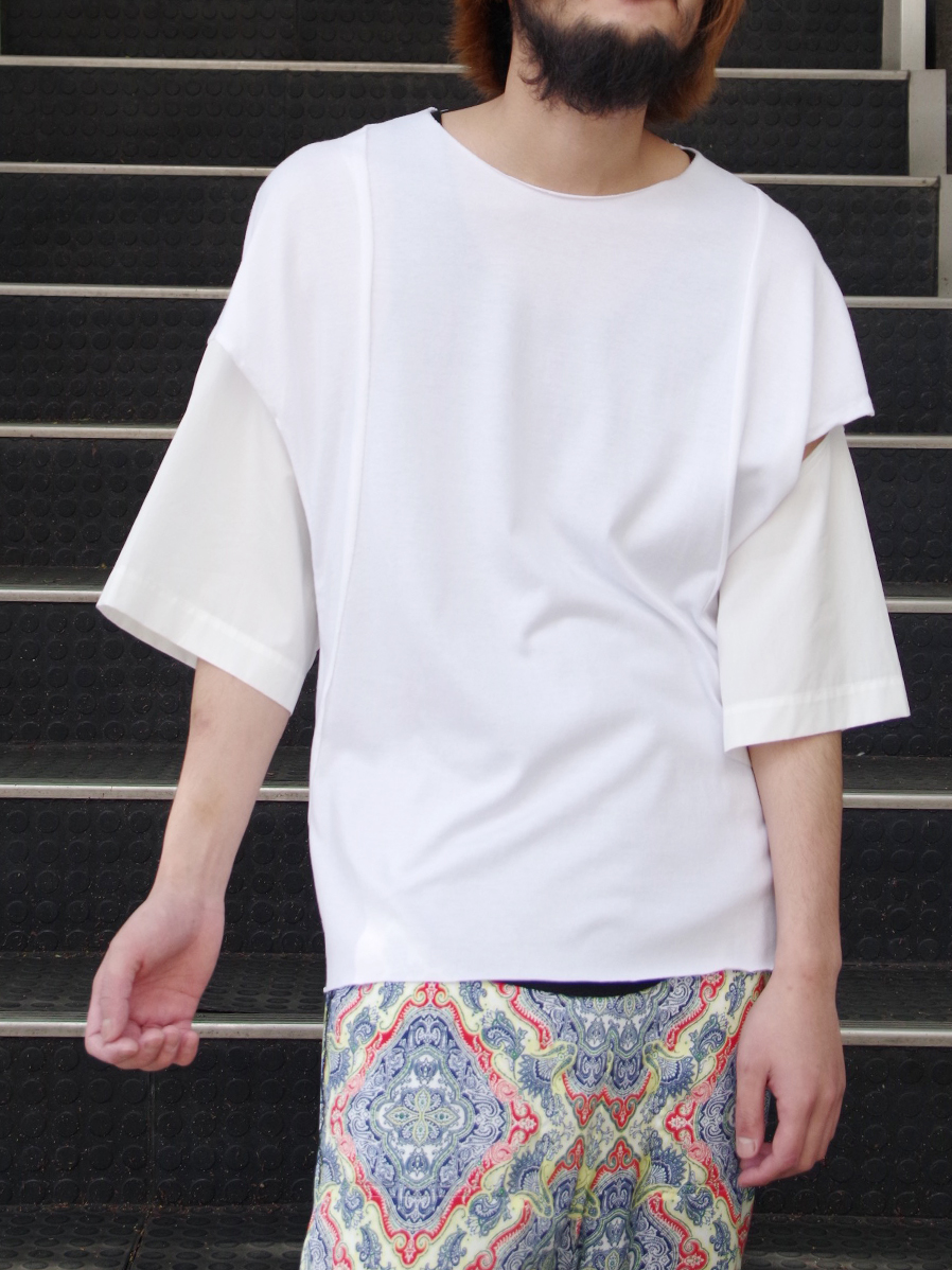 """【SALE】 BED J.W. FORD (ベッドフォード) """"Cut cut-saw"""" <カットソー> - WHITE"""