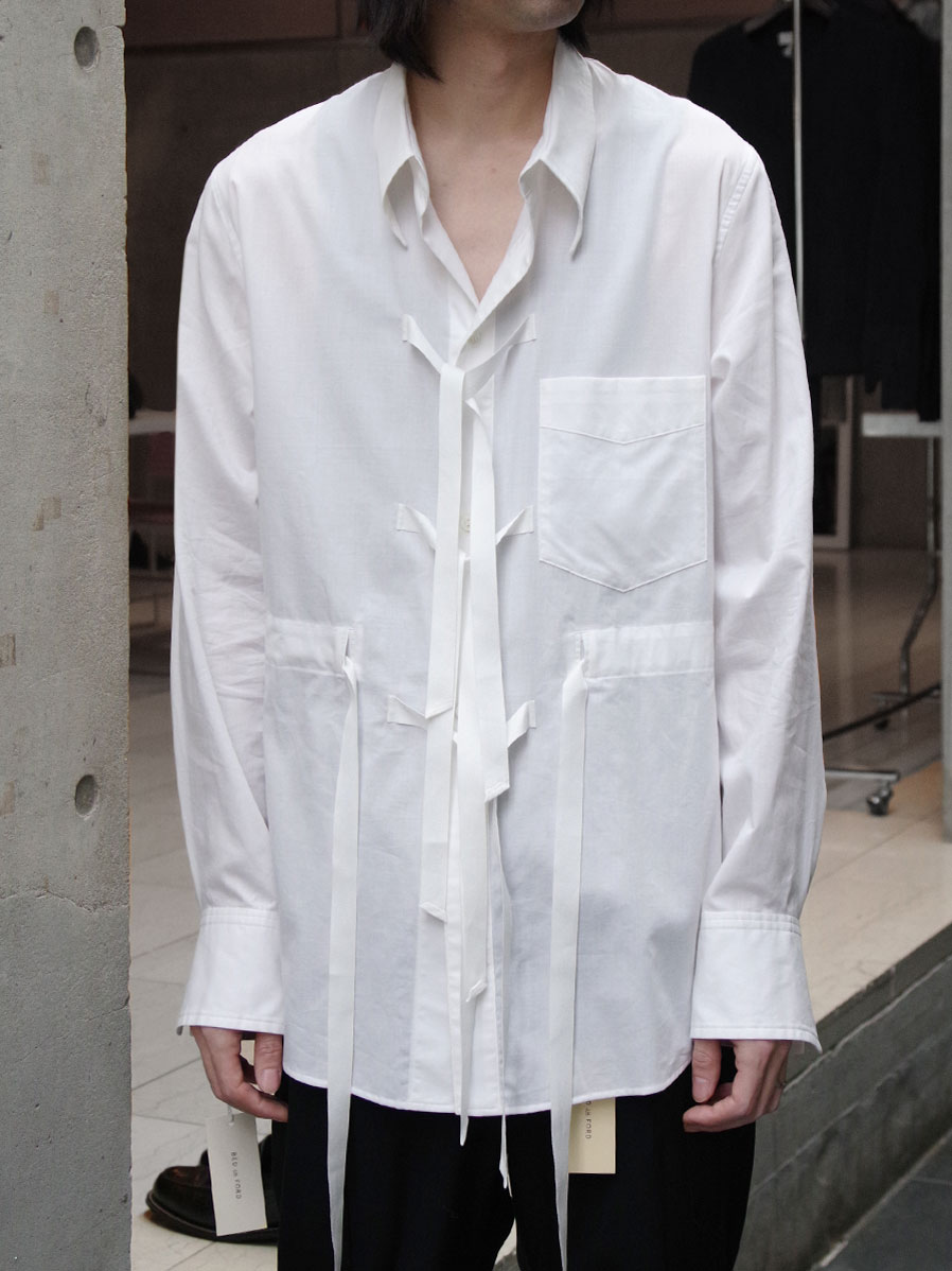 "【2020AW】 BED J.W. FORD (ベッドフォード) ""Cotton Silk Ribbon Shirt"" <シャツ> - WHITE"