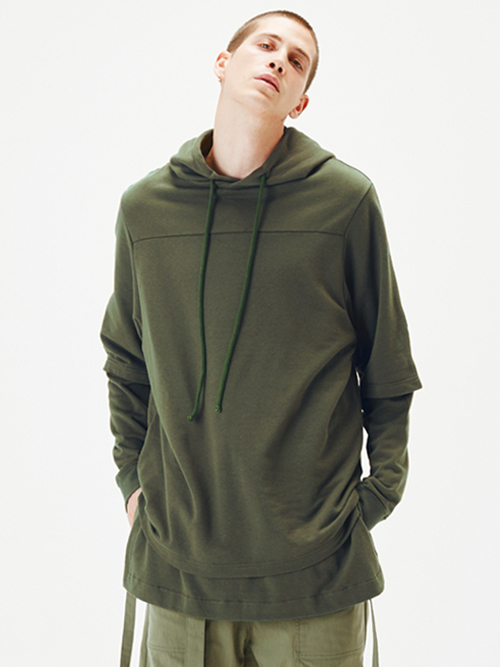 "wizzard (ウィザード)  ""LAYERED HOODIE"" <レイヤードパーカー> - MOSS"