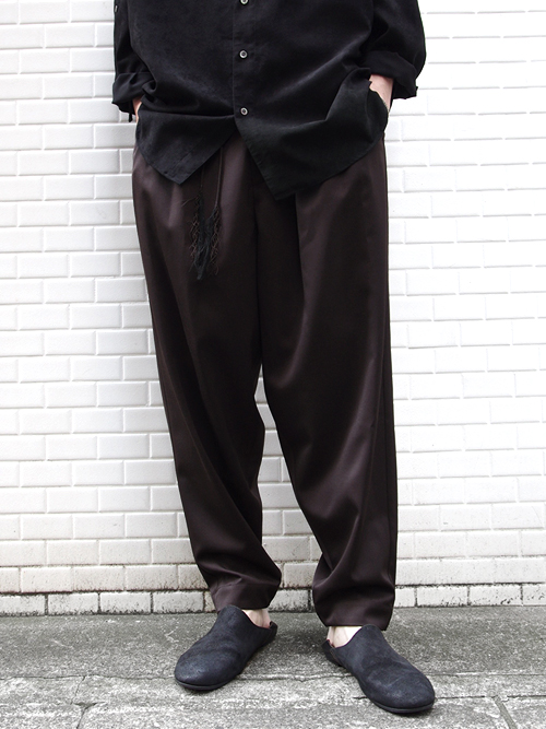 "<17AW> Edwina Horl  (エドウィナホール) // ""WIDE PANTS"" <ワイドパンツ> - ORIGINAL GABARDINE ""SOIL"" (DARK BROWN)"