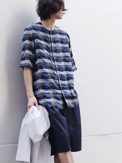 "<ARCHIVE COLLECTION> Edwina Horl  (エドウィナホール) // ""S/S NO COLLAR SHIRT"" <ノーカラーシャツ> - BLUE CHECK"