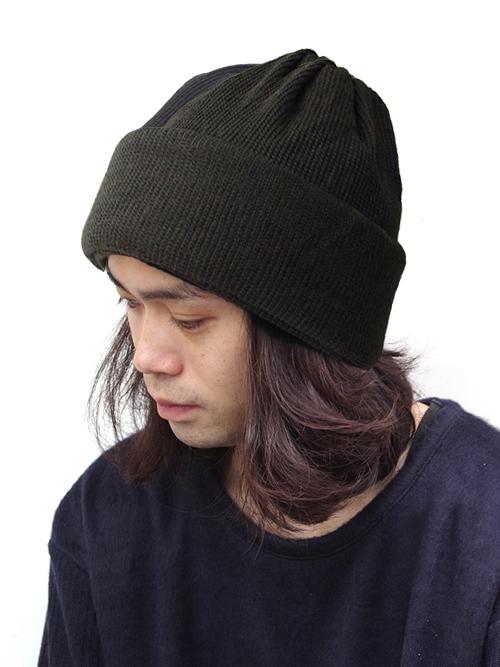 """<18AW> Edwina Horl  (エドウィナホール) // """"KNIT CAP"""" <ニットキャップ> - DARK GREEN"""