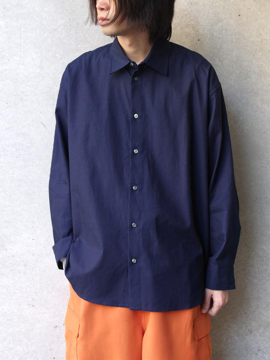 """<20SS> Edwina Horl  (エドウィナホール) // """"WIDE SHIRT"""" <ワイドシャツ> - INDIGO"""