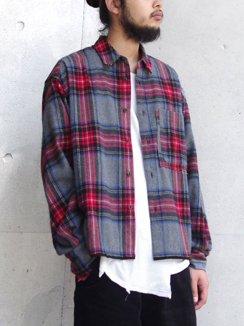 "JieDa(ジエダ)  ""CUT OFF FLANNEL SHIRT"" <チェックシャツ>"