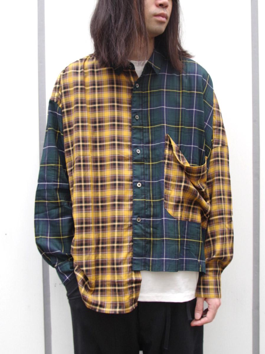 "【19AW】 JieDa(ジエダ)  ""ASYMMETRY L/S SHIRT"" <シャツ> - YELLOW × GREEN"