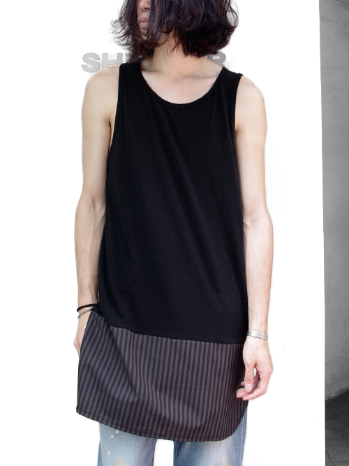 """JUVENILE HALL ROLLCALL × SHELTER[ジュベナイル・ホール・ロールコール] """"LIMITED LONG TANK TOP """"948S"""" <別注ロングタンクトップ> - CAGE"""