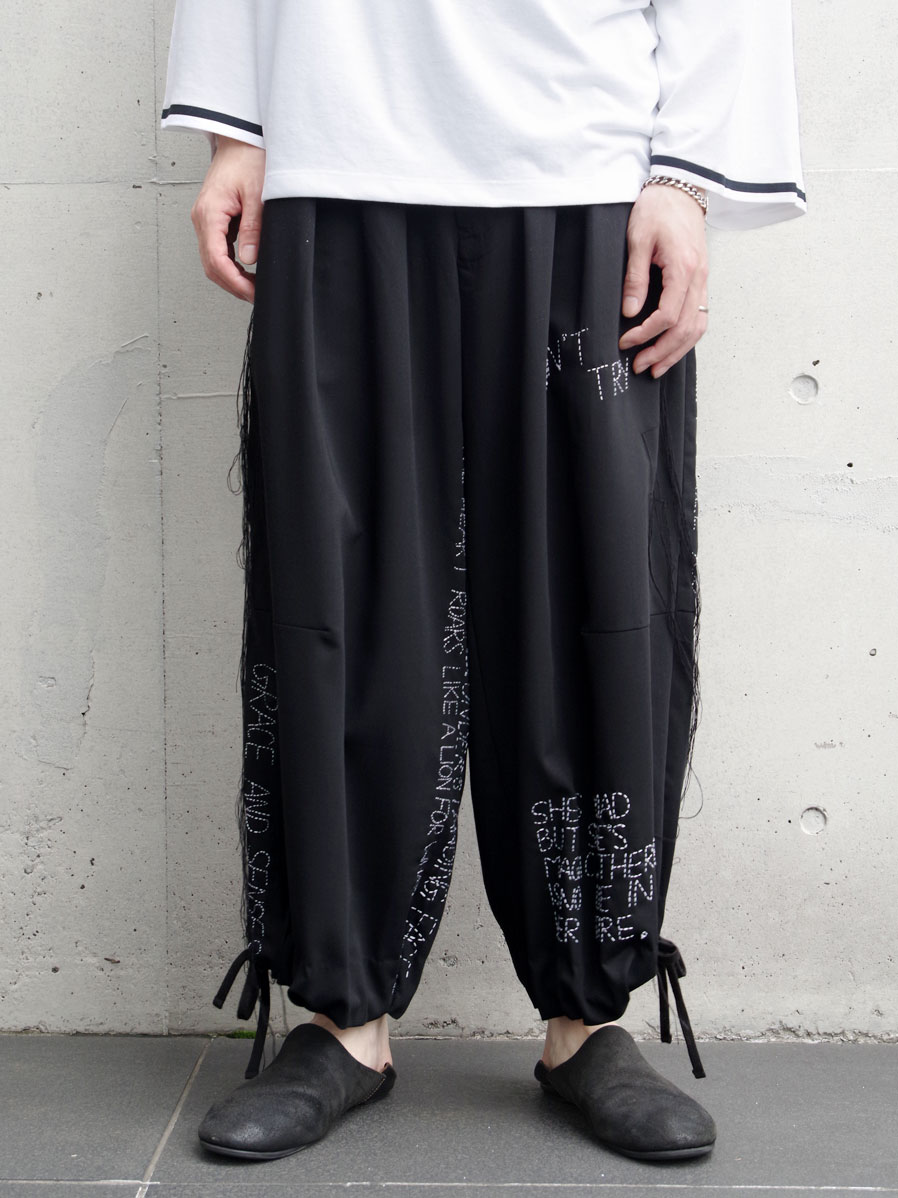 """【2020SS】 LEH (レー)  """"HAND EMBROIDERY BAND WIDE PANTS"""" <パンツ>"""