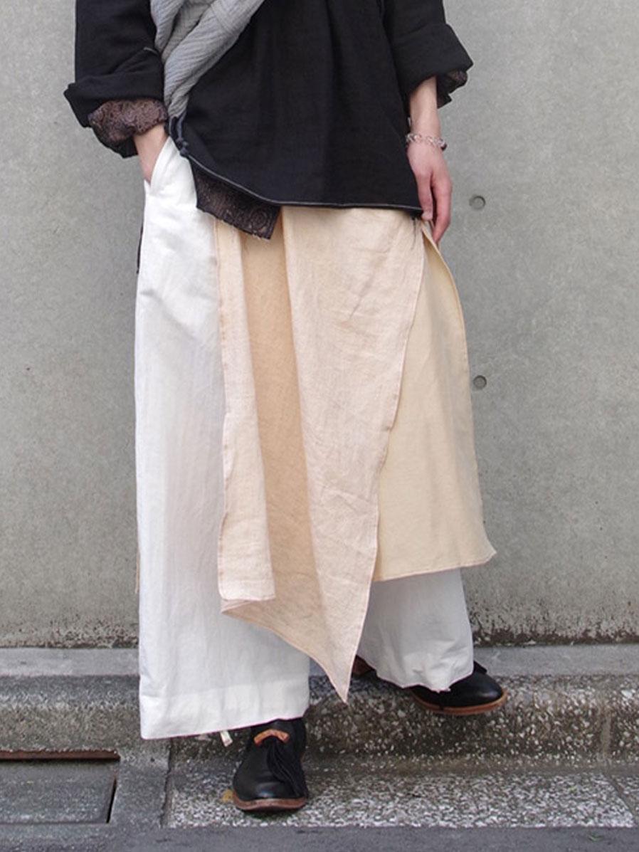 """【2021SS】 LEH (レー)  """"千層衣EASY PANTS"""" <ワイドイージーパンツ> - BEIGE MIX"""