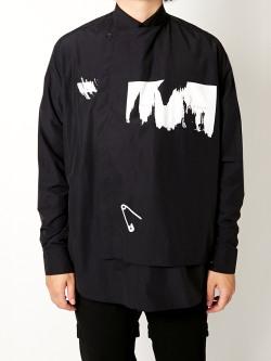 """【21SS】 ALMOSTBLACK (オールモストブラック) """"LAYERED SHIRT"""" <レイヤードシャツ> - BLACK"""