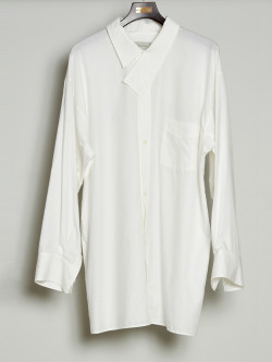 "【2020SS】 BED J.W. FORD (ベッドフォード) ""Cotton Silk Dog Ear Shirt"" <シャツ> - WHITE"