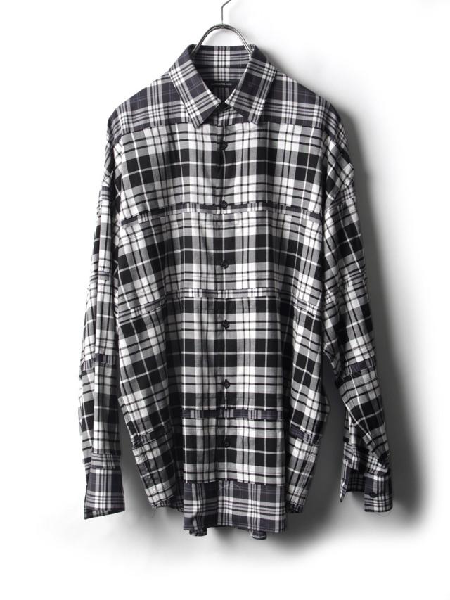 "ALMOSTBLACK (オールモストブラック) ""DOUBLE CLOTH WIDE SHIRT"" <シャツ> - CHECK"