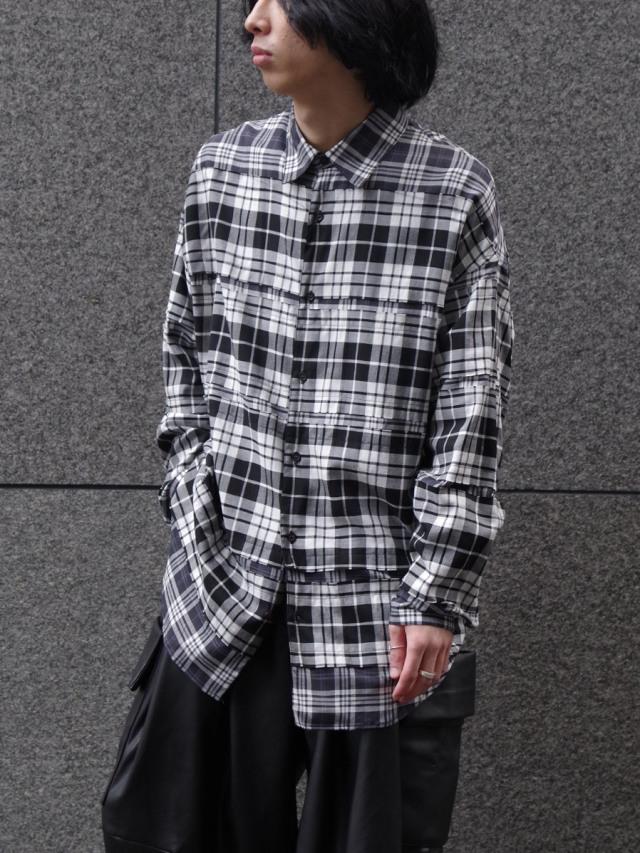 "【SALE】 ALMOSTBLACK (オールモストブラック) ""DOUBLE CLOTH WIDE SHIRT"" <シャツ> - CHECK"