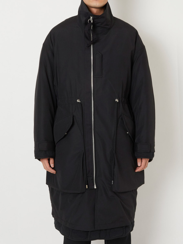 """ALMOSTBLACK """"WOVEN  LAYERED MILITARY COAT"""""""