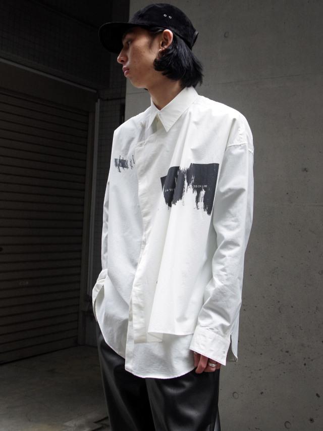 """【21SS】 ALMOSTBLACK (オールモストブラック) """"LAYERED SHIRT"""" <レイヤードシャツ> - WHITE"""