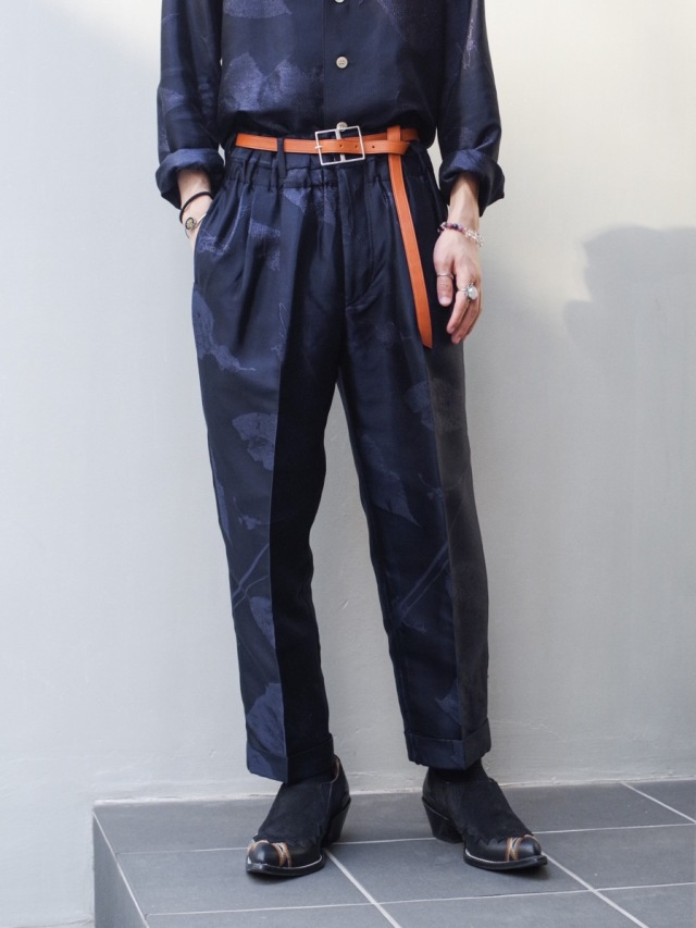 """BED J.W. FORD """"OVER WAIST (CROPPED) JACQUARD PATTERN"""" - NAVY"""