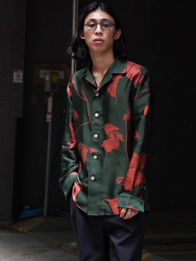 """BED J.W. FORD """"OPEN COLLAR SHIRTS JACQUARD PATTERN"""" - FOREST"""