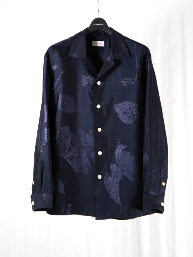 """BED J.W. FORD """"OPEN COLLAR SHIRTS JACQUARD PATTERN"""" - NAVY"""